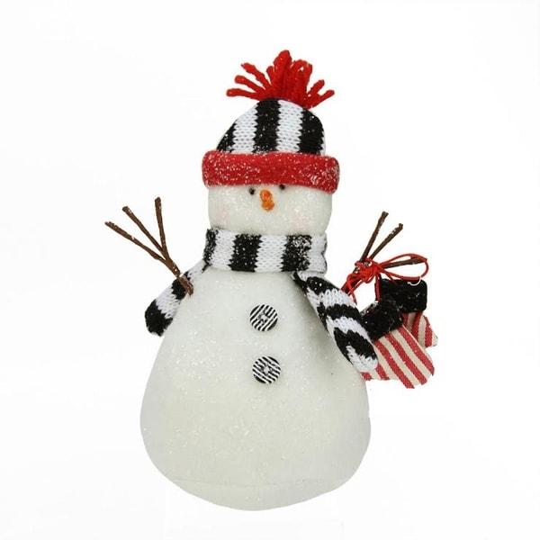 "7.5"" Decorative Black and White Glittered Snowman Christmas Table Top Plush Figure"