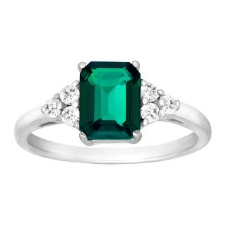 1 5/8 ct Created Emerald & White Topaz Ring in Sterling Silver - Size 6 - Green