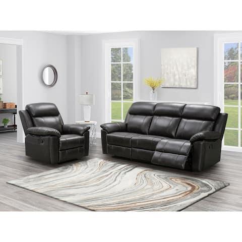 Abbyson Braylen 2 Piece Top Grain Leather Manual Reclining Sofa and Recliner Set