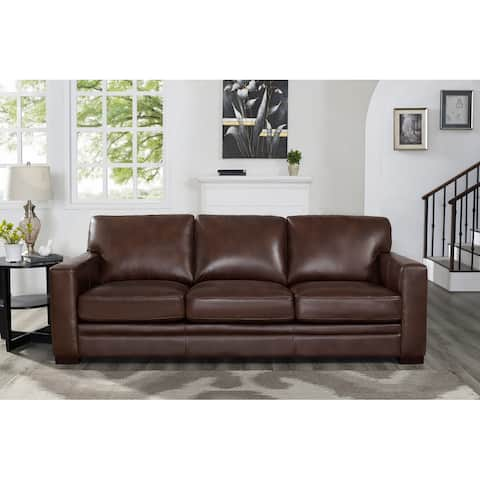 Hydeline Dillon Top Grain Leather Sofa with Feather, Memory Foam and Springs