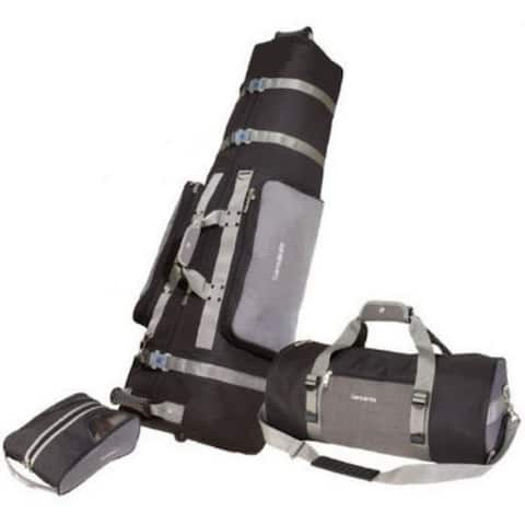 "Samsonite 3 Piece Golf Set Soft Travel Cover Shoe Bag Duffel Luggage Wheels 700 - Silver - 51""H x 17""W x 14""D"