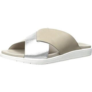 Kenneth Cole New York Womens Maxwell Leather Metallic Flat Sandals