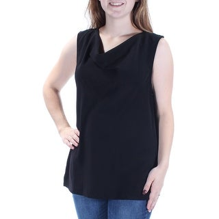 Womens Black Sleeveless Cowl Neck Casual Top Size M