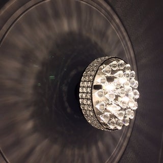 Antonia 4-light Crystal Semi-flush Mount Chandelier with Antique Black Iron Shade