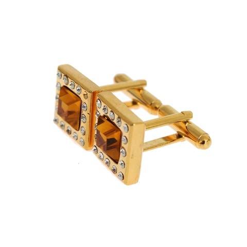 Dolce & Gabbana Clear Orange Crystal Gold Brass Men's Cufflinks - One Size