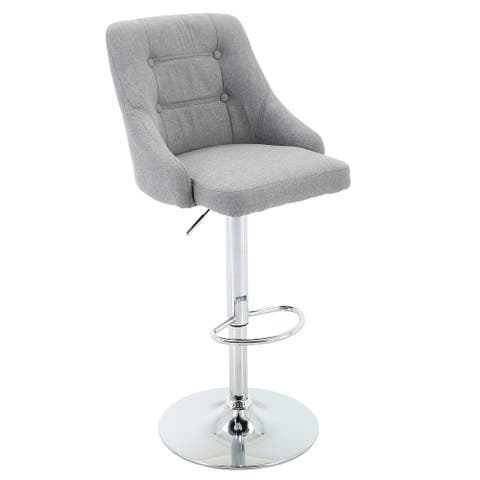 Brage Living Hathaway Button-Tufted Adjustable-Height Barstool, Light Grey