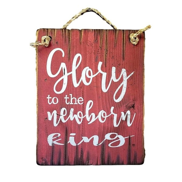 Cowboy Signs Wood Wall Hanging Glory Newborn King Antiqued Red