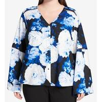 Calvin Klein Blue White Womens Size 1X Plus Floral Button Down Shirt