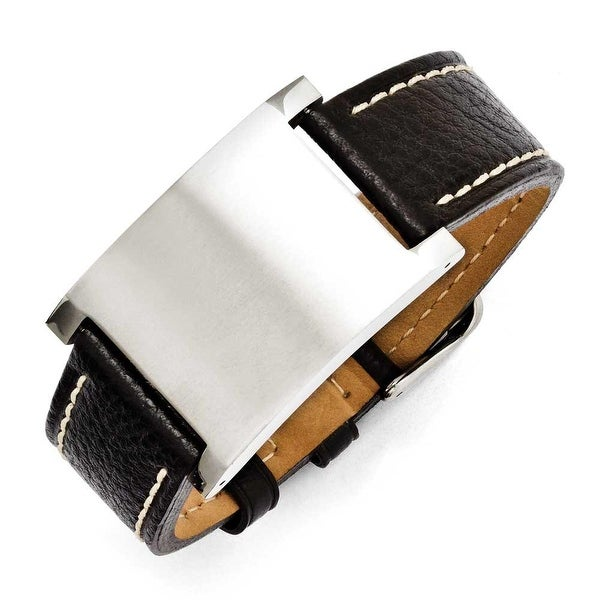 Chisel Stainless Steel Black Leather Adjustable Buckle Bracelet