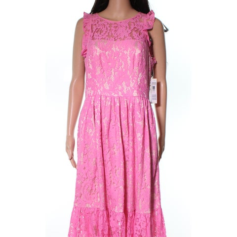 Eliza J Pink Floral Laced Ruffle Women's Size 6 A-Line Dress