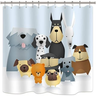 Cartoon Dog Shower Curtain Colorful Painting