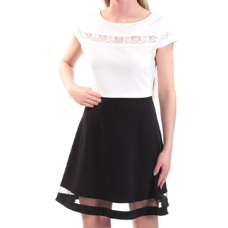 Womens Ivory Black Cap Sleeve Above The Knee A-Line Dress Size: 3
