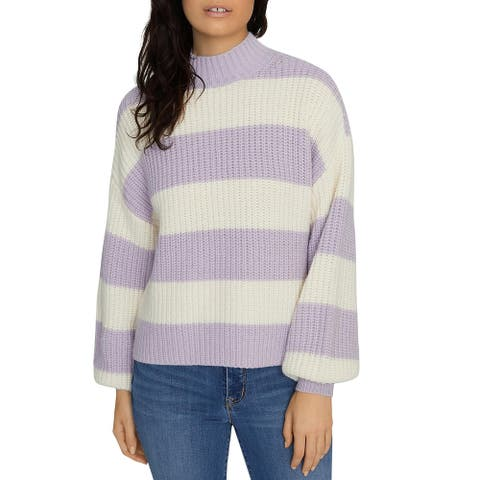 Sanctuary Womens Sweet Tooth Mock Turtleneck Sweater Striped Pullover