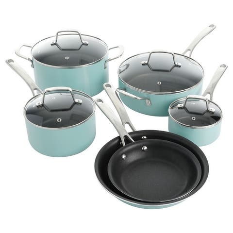 Martha Stewart 10 Piece Aluminum Enamel Cookware Set in Mint