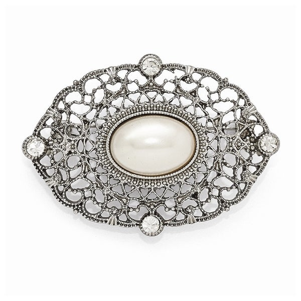 Silvertone Clear Glass and Simulated Pearl Oval Pin