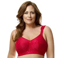 Elila Women's Plus Size Wireless Full-Coverage Jacquard Embroidered Bra - 34k