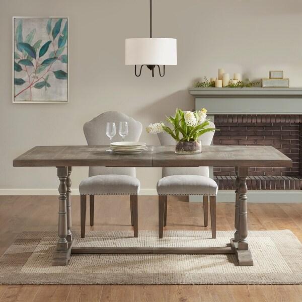 Tristan Natural/ Grey Rectangular Dining Table 2 pedestal leg by Martha Stewart. Opens flyout.