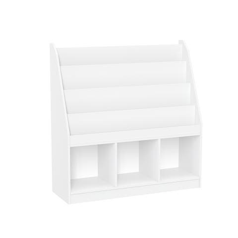 RiverRidge Home Kids Bookrack with Three Cubbies, White