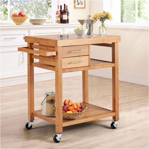 Rolling Bamboo Wood Kitchen Island Cart