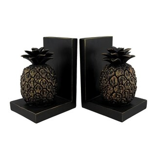 Black Gold Decorative Tropical Pineapple Bookend Set