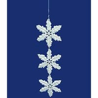 Seasons of Elegance Silver Glitter Snowflake Dangle Christmas Ornament 7.5""