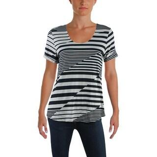 A-Line Womens Petites T-Shirt Scoop Neck Striped - pl