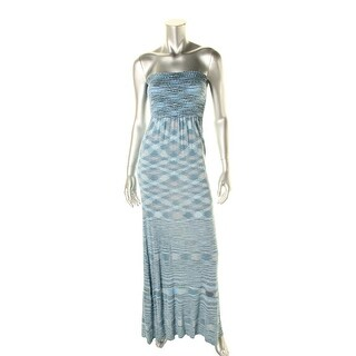 Moon & Meadow Womens Strapless Printed Maxi Dress