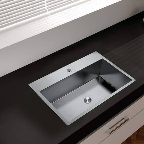 "25"" Stainless Steel Drop-in Kitchen Sink, Single Bowl Topmount Sink - 25"" x 22"""