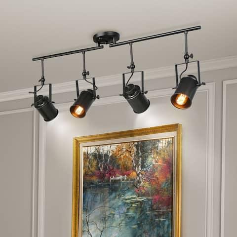 "LNC Black Split Rail 4 Spotlight Track Lighting - W36.4""xH15""xE4.75"""