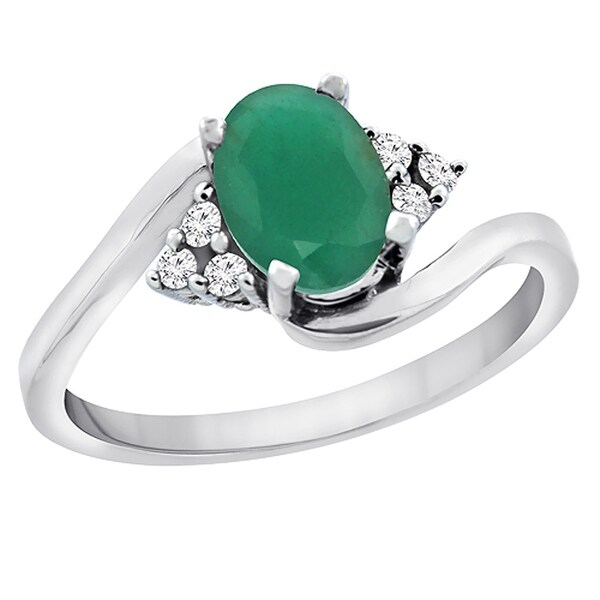 Shop 10k White Gold Diamond Natural Emerald Engagement