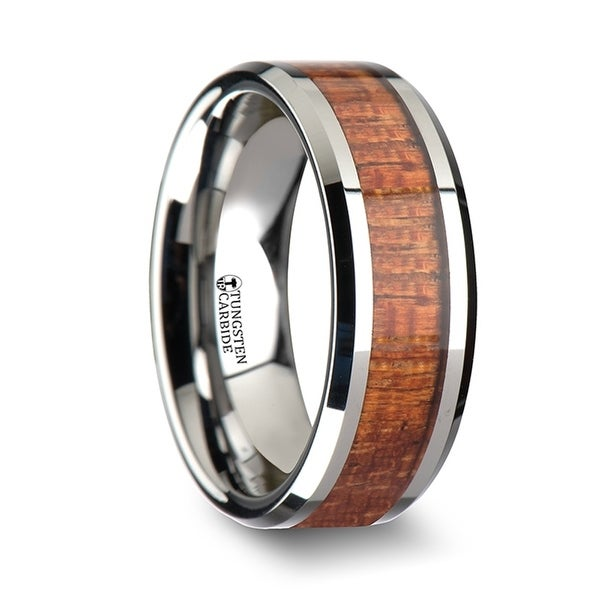 THORSTEN - KHAYA Tungsten Band with Polished Bevels and Exotic Mahogany Hard Wood Inlay