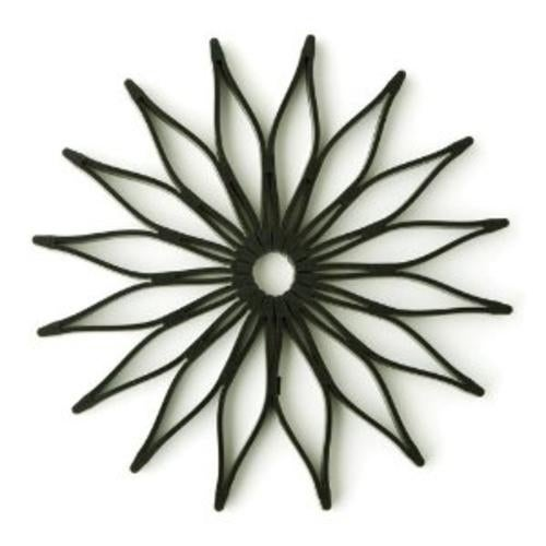 HIC16812 Spice Ratchet Blossom Multi-Use Silicone Trivet, Black