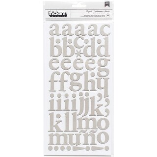"DIY Shop 3 Thickers Alphabet Stickers 5.5""X11"" Sheets 2/Pkg-Regards/Gray Chipboard"