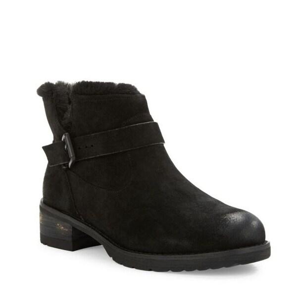 Elie Tahari NEW Black Women's Shoes Size 6.5M Faux Fur Suede Boot