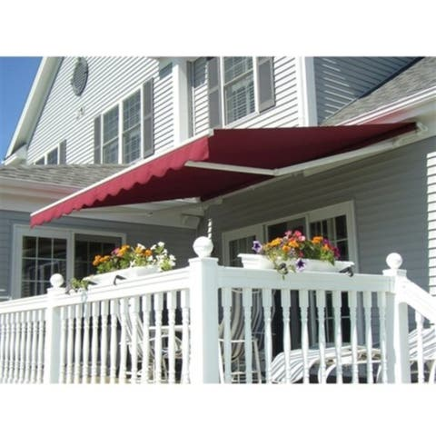 ALEKO Retractable 12 x 10 feet Awning Home Patio Canopy Burgundy