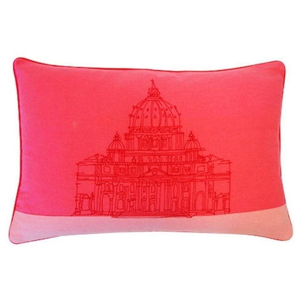 Vivai Home Pink Sanctuary Print Rectangle 16x 24 Cotton Feather Throw Pillow