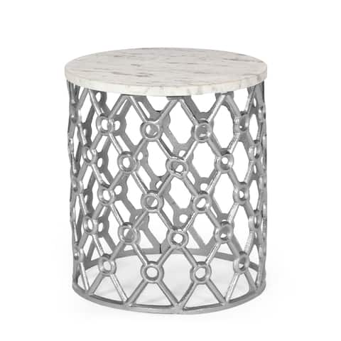 """Lenhart Modern Glam Handcrafted Marble Top Aluminum Side Table by Christopher Knight Home - 14.00"""" L x 14.00"""" W x 16.00"""" H"""