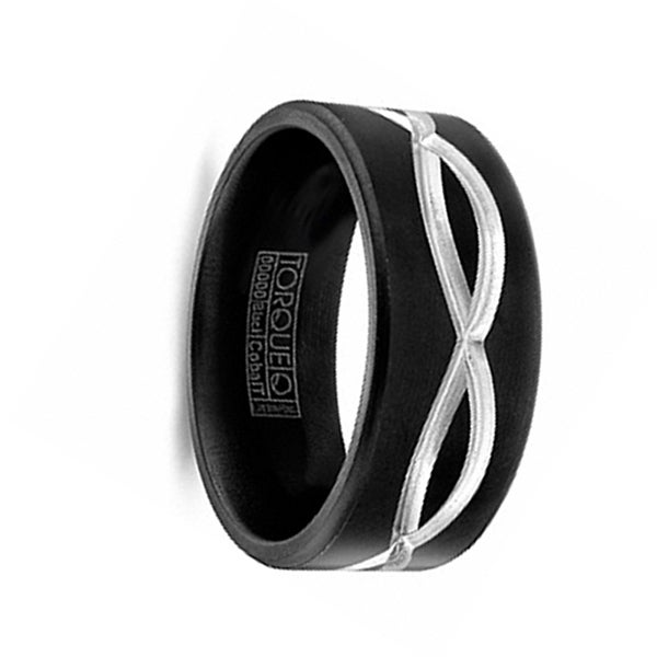 GARRUS Torque Black Cobalt Flat Wedding Band Matte Finish Grooved Center Design by Crown Ring - 9 mm