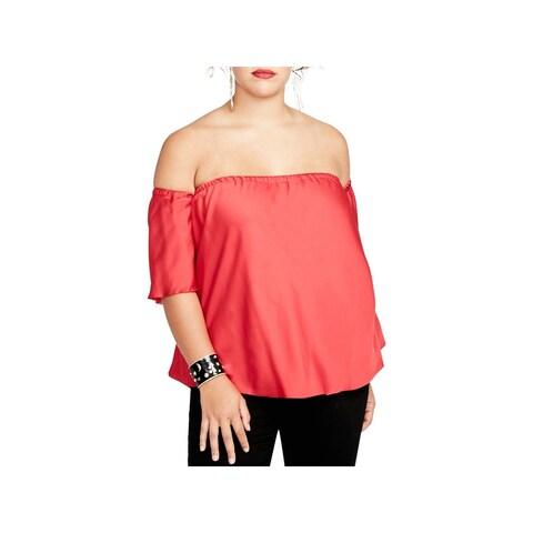 Rachel Rachel Roy Womens Plus Blouse Off-The-Shoulder Dressy