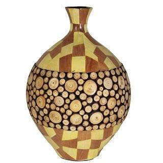 Ceramic/Wood Encrusted Vase, Multicolor(EN30336)