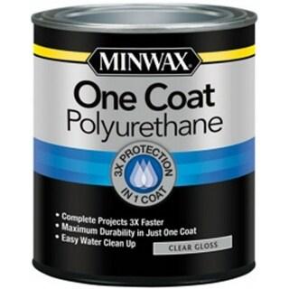 Minwax 356100000 One Coat Polyurethane Wood Finish, Clear Gloss, 1 Qt