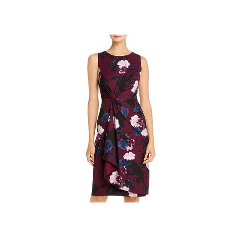 Donna Karan Womens Cocktail Dress Floral Sleeveless - Mulberry