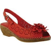 Spring Step Women's Belford Peep Toe Slingback Red Leather