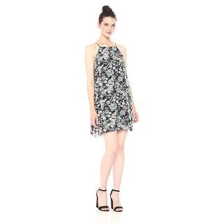 Kensie Wild Garden Floral Print Back Lace Detail Dress Black Combo - xL