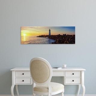 Easy Art Prints Panoramic Image 'Lighthouse on the coast at dusk, Walton Lighthouse, Santa Cruz, California' Canvas Art