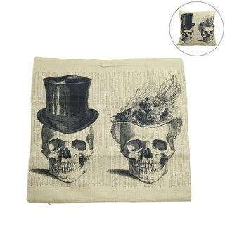 Square Linen Lady Gentleman Skull Printed Car Cushion Pillow Cover Home Decor