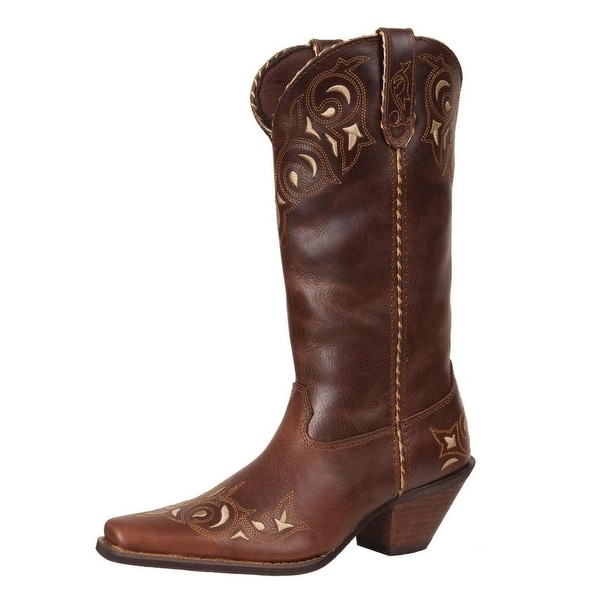 "Durango Western Boots Womens 12"" Crush Sew Sassy Pull Brown"