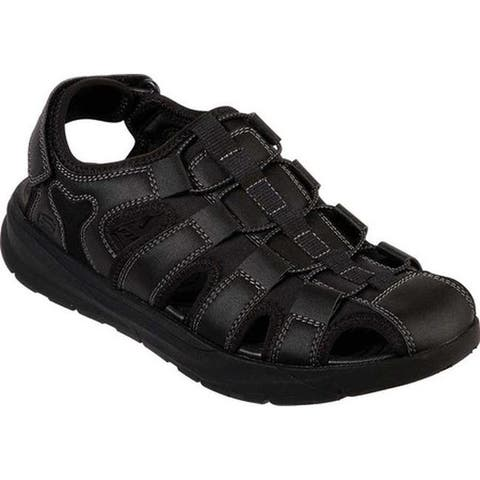 ef7d4e932e97 Skechers Men s Relaxed Fit Relone Henton Walking Sandal Black Black