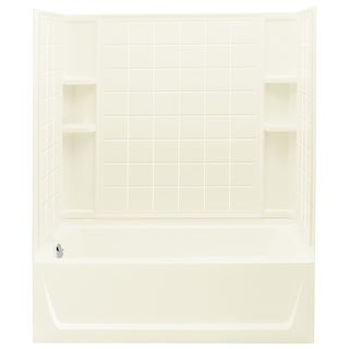 """Sterling 71120116  Ensemble 60"""" x 33-1/4"""" x 75-1/4"""" Vikrell Shower with Drain Left, 18"""" Apron and Tile Design"""
