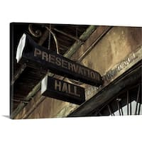 Premium Thick-Wrap Canvas entitled Signboard on a building, Preservation Hall, French Quarter, New Orleans, Louisiana